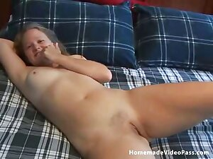 This girlfriend teases her man with some masturbation